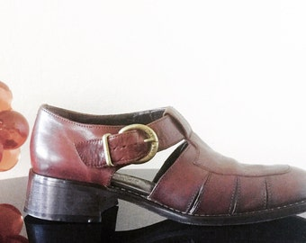 Vintage 1990's Joan & David Brown Leather Women's Fisherman/Boat Shoes/Sandals Shoes Sz 36 US 6