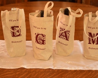 Wedding Wine Bags to ask your Wedding Party to Be there!! Embroidered Wine Bags, Wedding Party Initials, Pop The Question to Them!!