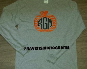 Chevron Pumpkin Monogram Tshirt