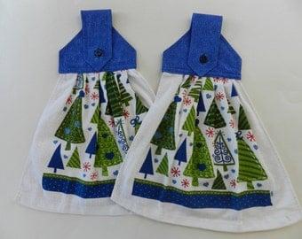 Christmas hanging towel, Holiday hanging towel, Hanging towel, Christmas tree towels, Kitchen towel, Hand towel