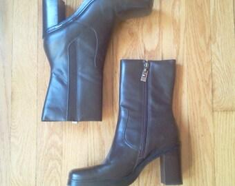 Free shipping Vtg Platform Tommy Hilfiger leather brown ankle boots size US 7.5