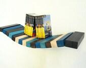 Wood floating wall shelf - black, white and blue shades