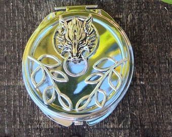 WOLF Solid Perfume by Strange Karma, Reusable Wolf Compact, Woodsy Cedar Elixir, Organic Cedar Overtones, Citrus Essential Oils Gift for Her