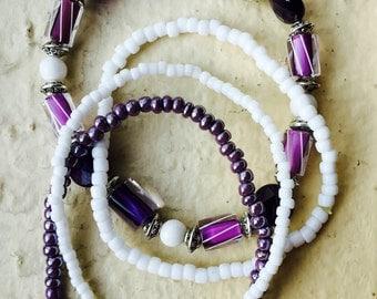 Purple Cane Glass Bracelet Set