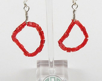 Earrings - Red, Red Brick Dangles (E102)