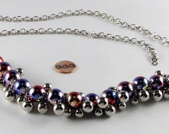 Necklace - Silver Chain & Metallic Balls (N029)