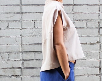 Minimalist Blouse, Beige Loose Fitting Top