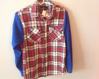 Vintage flannel top with thermal sleeves