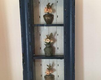 Shadow Box ~ Flowers ~ Dark Blue ~ Distressed Frame ~ Three Flower Vases~ Shabby Chic ~ Cottage Decor ~ Country Decor ~ Vintage