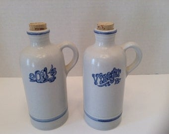 Vintage Pfaltzgraff Yorktowne Oil and Vinegar Bottles with the Corks