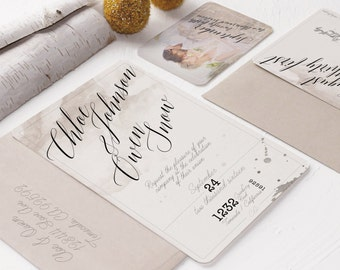 Watercolor Natural Wedding Invitation
