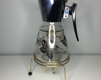 SALE! vintage mid century Colony carafe with metal warming stand