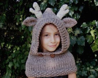 Reindeer Hat, Reindeer Hooded Cowl, Girls Hood Cowl, Reindeer Hood, Reindeer Cowl, Reindeer hat toddler, Toddler Halloween costume