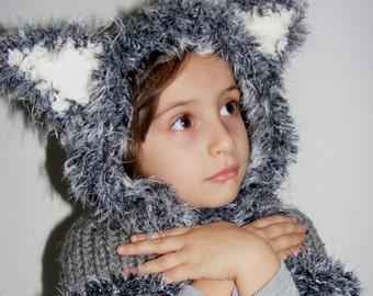 Knitted Wolf Cowl, Siberian Husky Hood Cowl, Girls Hooded Cowl, Knitted Wolf Hoodie