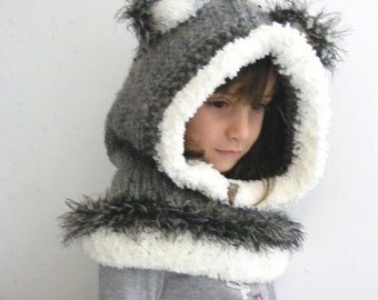 Knitted Wolf Cowl, Siberian Husky Style Hood, Wolf hat