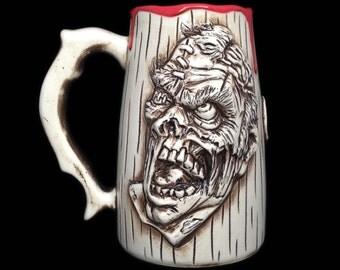 DOUBLE SIDED Zombie Beer Mug, Walking dead mug, Zombie gift, Zombie cup,Beer Stein, Eat my Brains, Tableware
