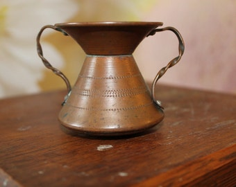 Vintage Copper Spittoon Vase with Twisted Handles