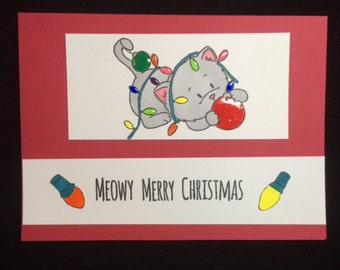 Meowy Merry Christmas Cat Greeting Card