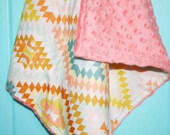 Lovie Blanket, Security Blanket, Wanderer Aztec Print, Baby Bedding, Nursery Decor