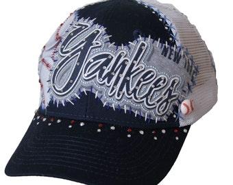 Handmade NEW YORK YANKEES custom baseball cap with Swarovski crystals