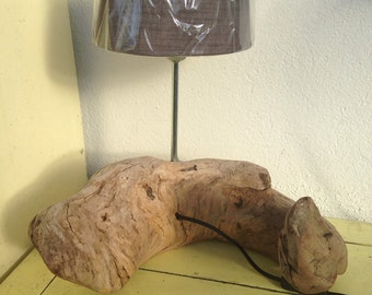 Bedside light Driftwood sculpted with Abajour Brown Deco Creation