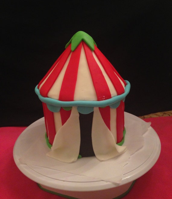 6  by 8  circus tent cake topper. Made out of fondant with a foam base this fondant topper will make your cake stand out!!! & Circus Birthday Party Edible Cake Decorations | Birthday Wikii