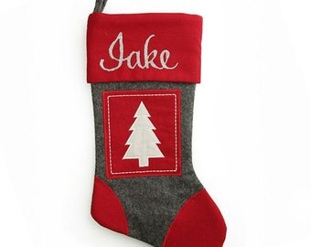 Personalised Grey and Red Tree Felt Stocking