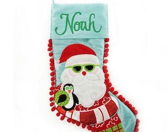 Personalised Pom Pom Beach Santa Stocking