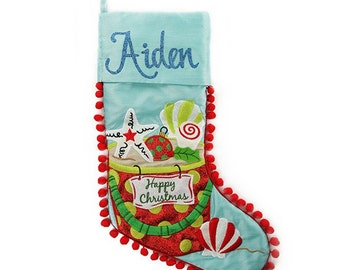 Personalised Pom Pom Beach Christmas Stocking