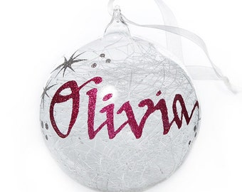 Personalised Icicle Glass Christmas Bauble - Medium