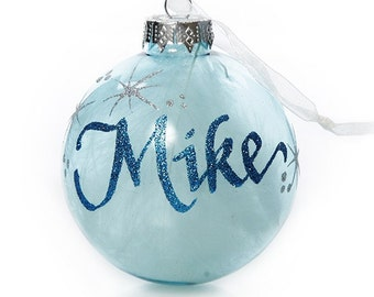 Blue Glass White Feather Personalised Christmas Bauble
