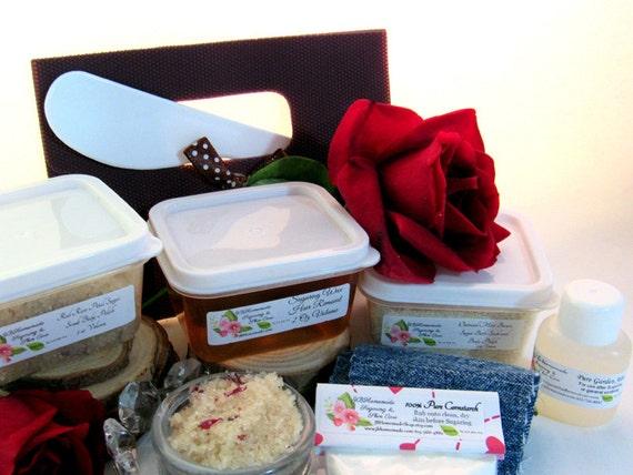 Natural Red Rose Petal Scrub Sugaring Wax Deluxe Starter Kit
