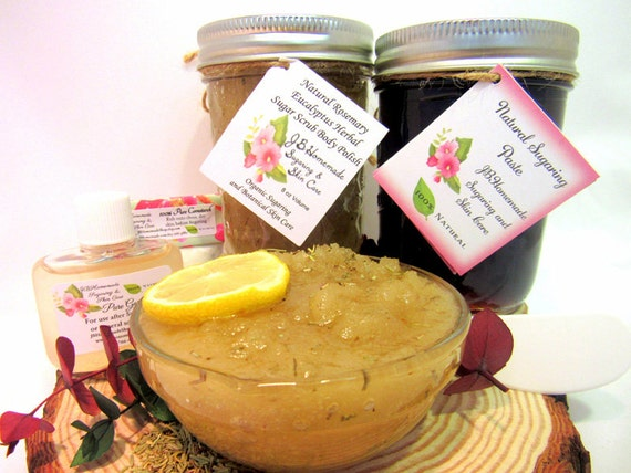 Sugaring Paste & Natural Rosemary Eucalyptus Sugar Scrub Bundle