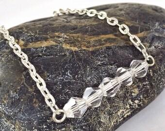 CLEARANCE Crystal bar bracelet, simple silver bracelet, bridesmaids gift, layering bracelet, minimalist  bracelet, rhinestone bar arm candy