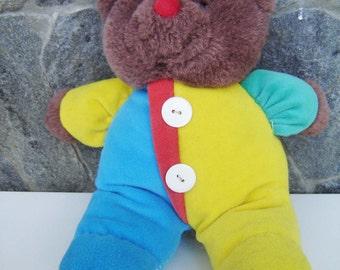 Vintage Sweet Brown Teddy Bear, / Kids Toy / Nursery Decor / Stuffed Animals / Cute Shabby Old Teddy Bear / Brown with clothes/