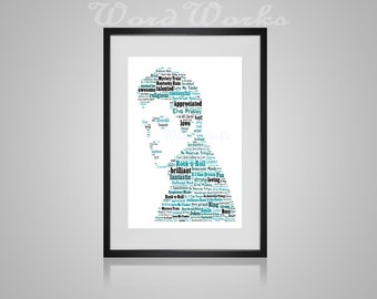 "Personalised Elvis Presley Word Art  **Buy 3 prints get the 4th FREE**  Use coupon code "" MYFREEONE """