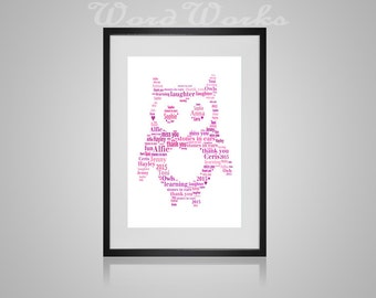 "Personalised Owl Word Art  **Buy 3 prints get the 4th FREE**  Use coupon code "" MYFREEONE """