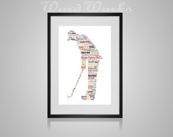 "Personalised Fathers Day ""Golfer"" Word Art  **Buy 3 prints get the 4th FREE**  Use coupon code "" MYFREEONE """