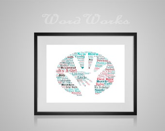 """Personalised Word Art New Baby Hand  **Buy 3 prints get the 4th FREE**  Use coupon code """" MYFREEONE """""""
