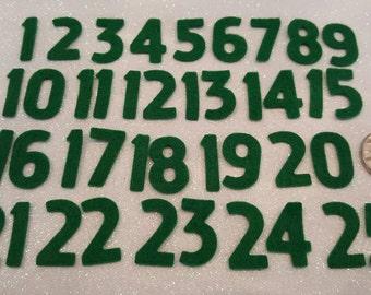 Green Felt Advent Numbers 1 to 25 - Premium 40% Wool Felt - 2cm Tall