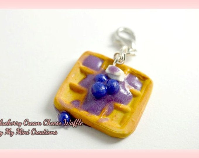 Blueberry Waffle With Cream Cheese Charm, Polymer Clay, Miniature Food, Miniature Food Jewelry