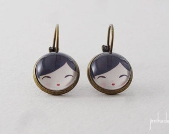 Earrings Kokeshi Japanese doll >> Valentine's Day gift for her