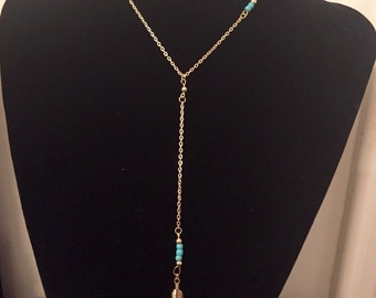 Gold leaf and turquoise lariat beaded necklace