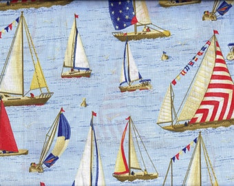 Sailboat Curtain Valance Blue Red Yellow