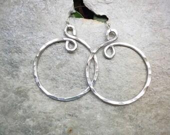 Hammered Aluminum Hoop Earrings