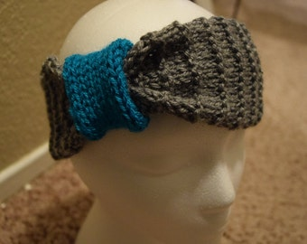 Knit Headband with Ribbing and Bow