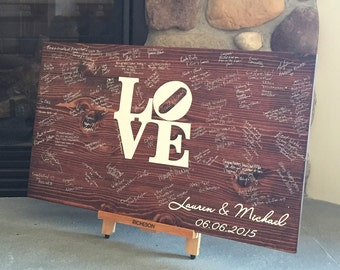 Wedding Guest book - Wood Guest book - Wedding Guestbook - Philly LOVE Sign - Weddings - Bridal shower gift - Guest Books -Wedding gift idea