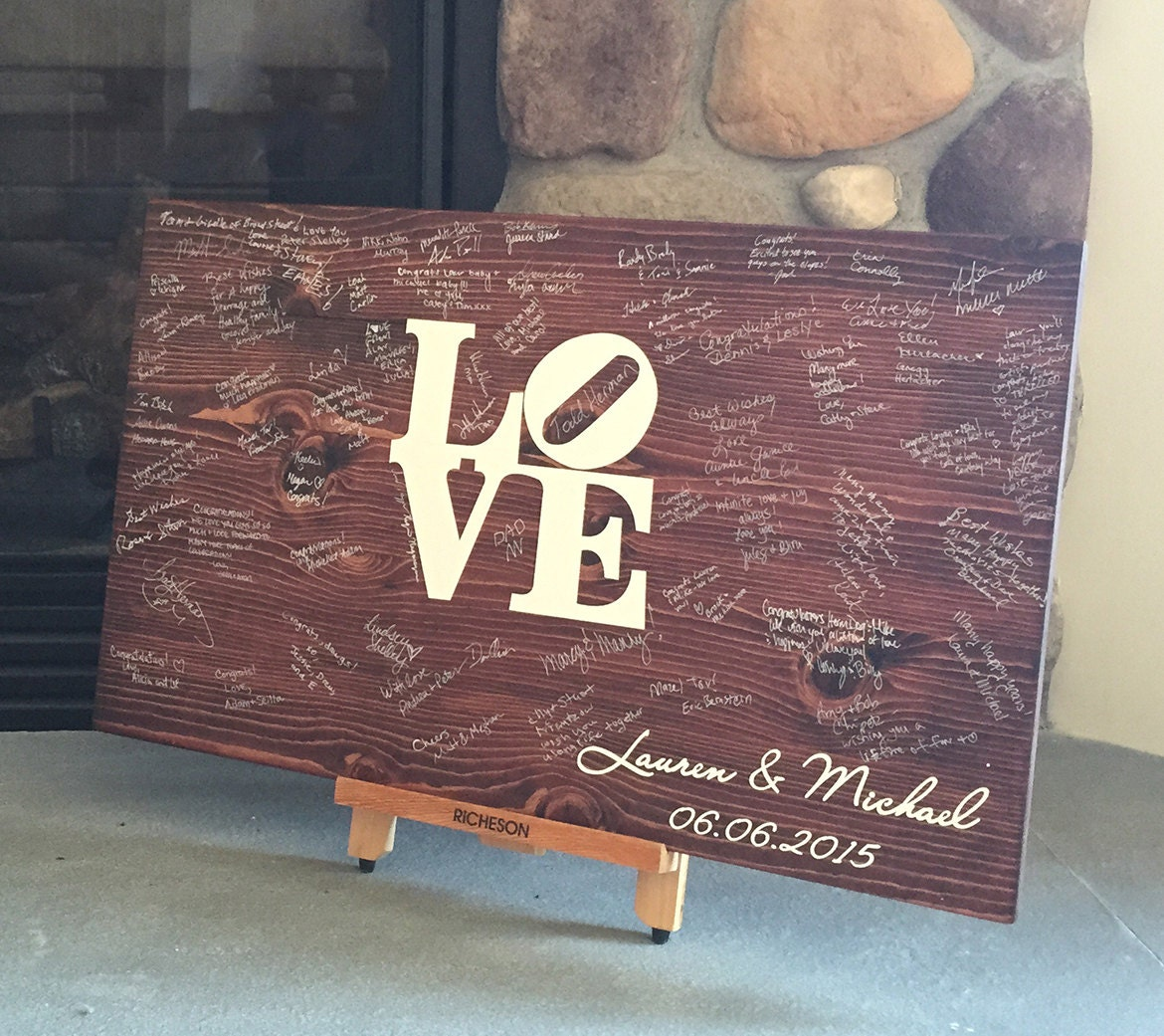 philly love wedding gifts for guests Wedding Guest book Wood Guest book Wedding Guestbook Philly LOVE Sign Weddings Bridal shower gift Guest Books Wedding gift idea