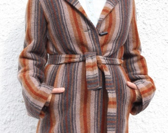 Vintage 1960's Hooded Wool Coat Made By Chara-Jac
