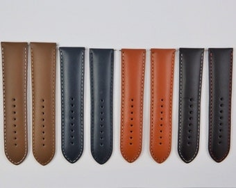 24mm Genuine Smooth Leather Watch Strap Straps Band Mens Gents Padded SS Buckle